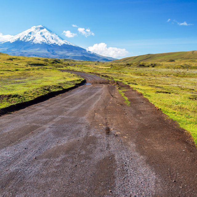 """""""Dirt Road and Cotopaxi Volcano"""" stock image"""