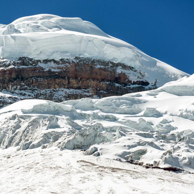 """Snowy Peak of Cotopaxi Volcano"" stock image"