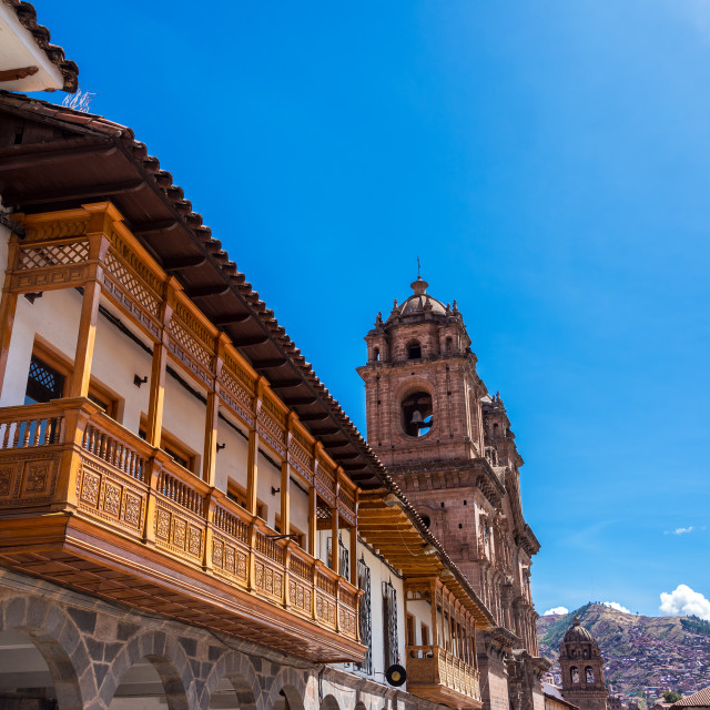 """Balconies and Church in Cusco, Peru"" stock image"