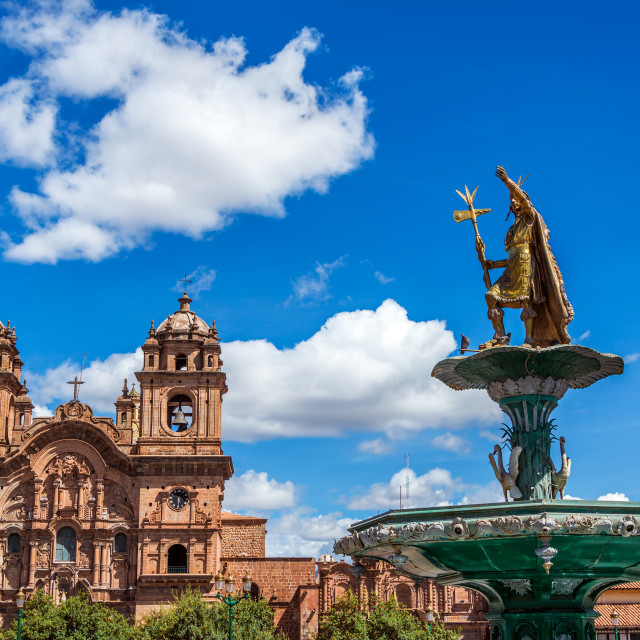 """Church and Fountain in Cusco, Peru"" stock image"
