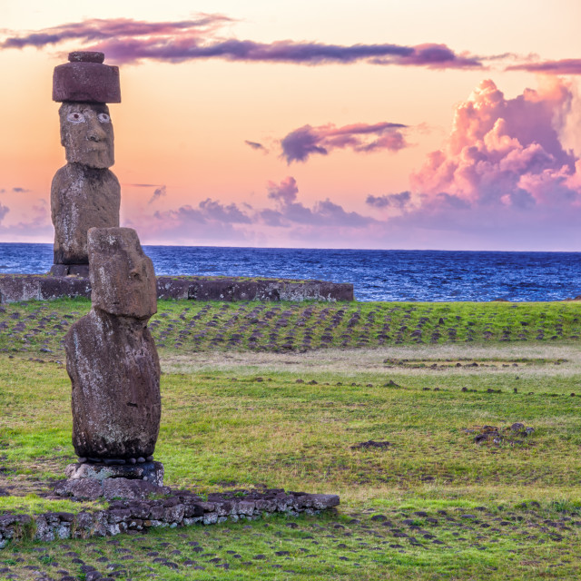"""Moai Statues at Sunset"" stock image"
