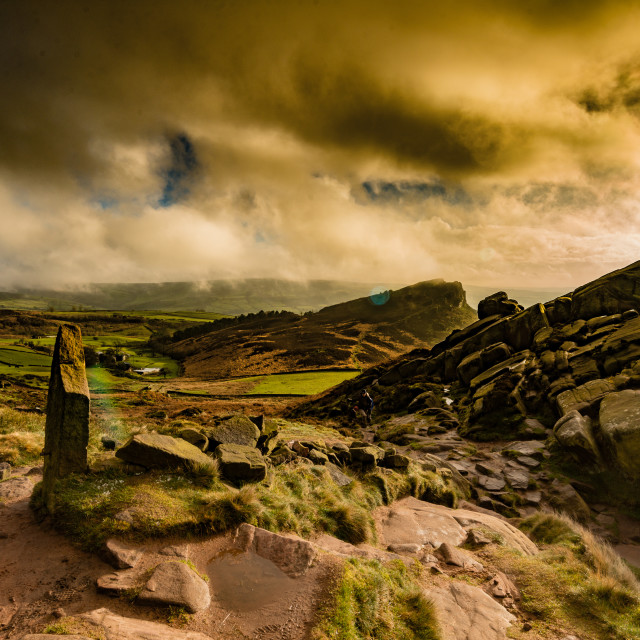 """Hens Cloud from the Roaches early Morning"" stock image"