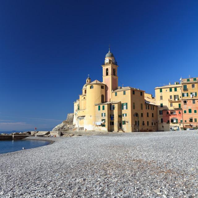 """""""church and seaside in Camogli"""" stock image"""