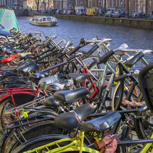 """Parked bikes in Amsterdam"" stock image"