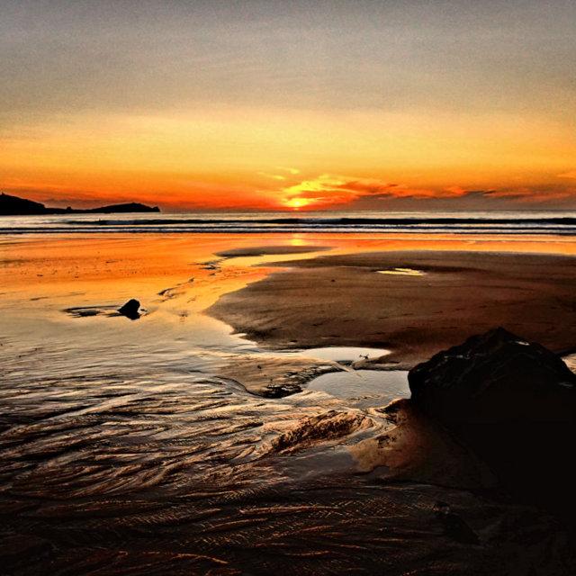 """Sunset Beach"" stock image"