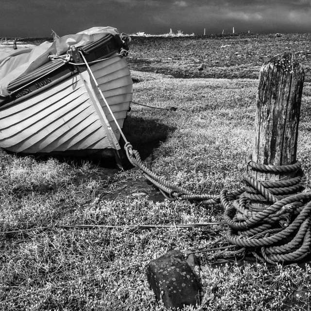 """""""Marooned Boat."""" stock image"""