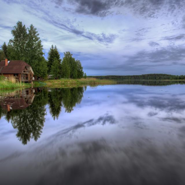 """Sunset on the lake"" stock image"