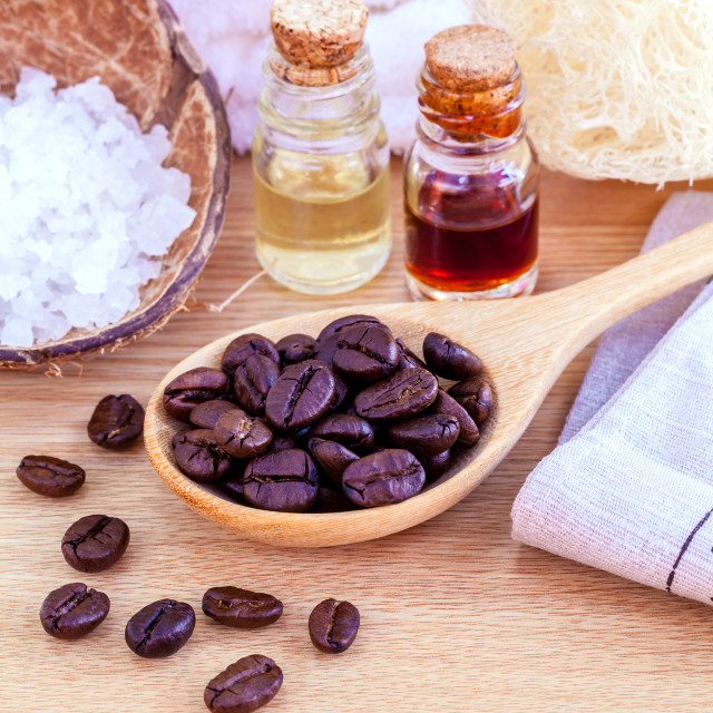 """Natural Spa Ingredients . - Aromatic spa coffee beans with sea s"" stock image"