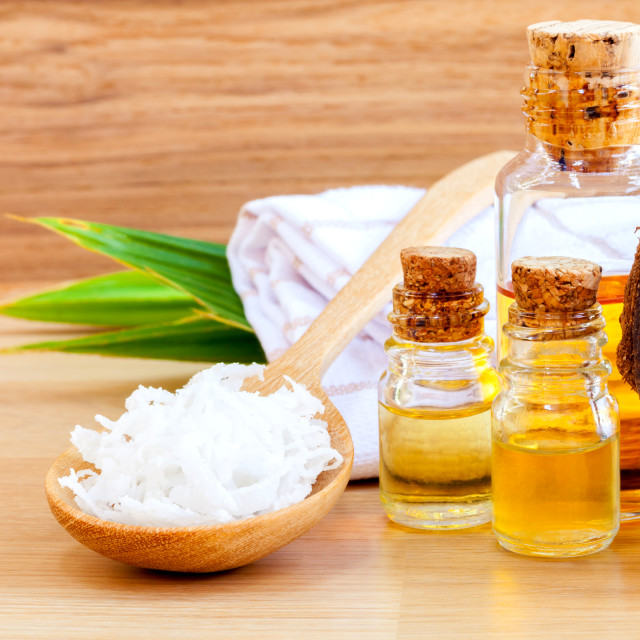 """Natural Spa Ingredients . - Coconut essential Oil for alternativ"" stock image"