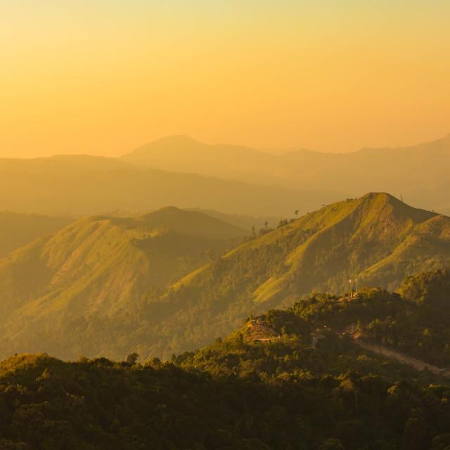 """Sunset mountain background from Kanchanaburi,Thailand"" stock image"