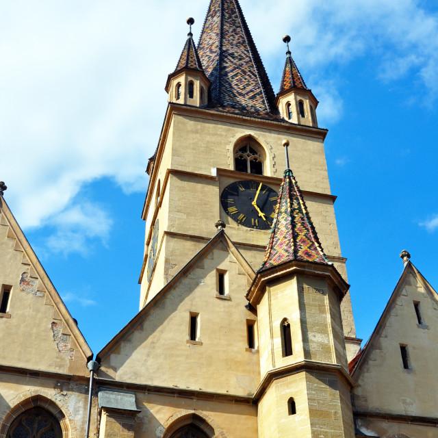 """Sibiu city Romania Lutheran Cathedral"" stock image"