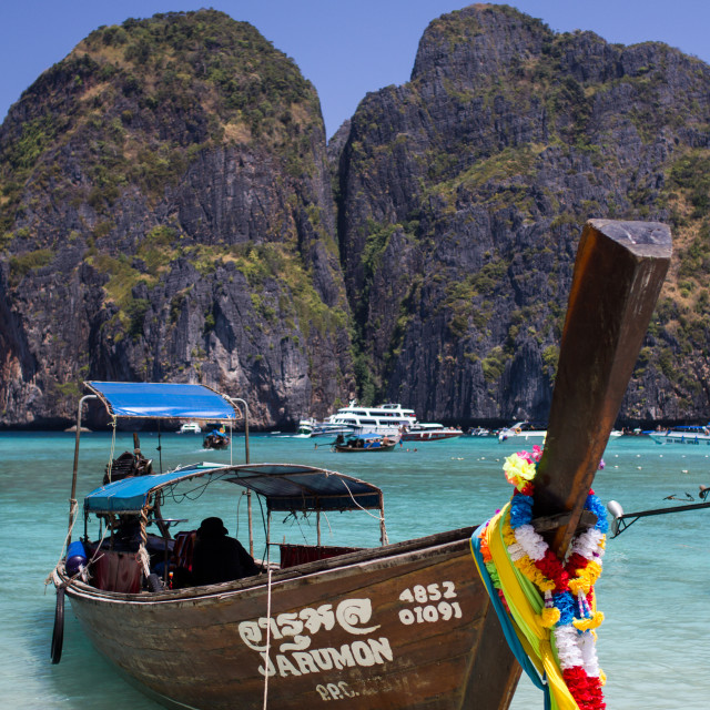 """Longboat in Maya Bay"" stock image"