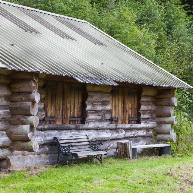 """Cabin in the woods"" stock image"