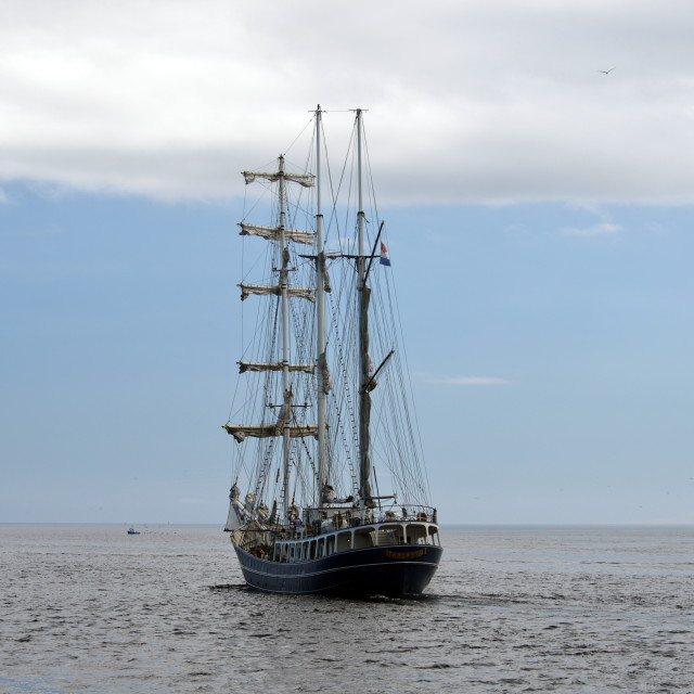 """3 mast 'Thalassa' leaving Wick Bay"" stock image"