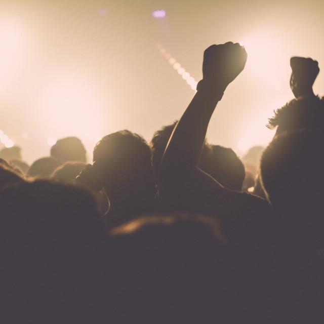 """Crowd celebrating"" stock image"
