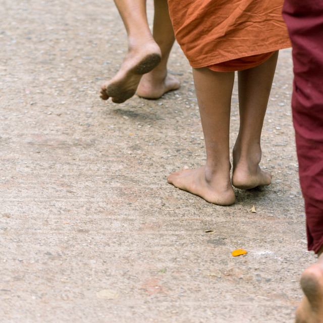 """Foots of ascetic Buddhist monk walking at the way to Kyaikhtiyo"" stock image"