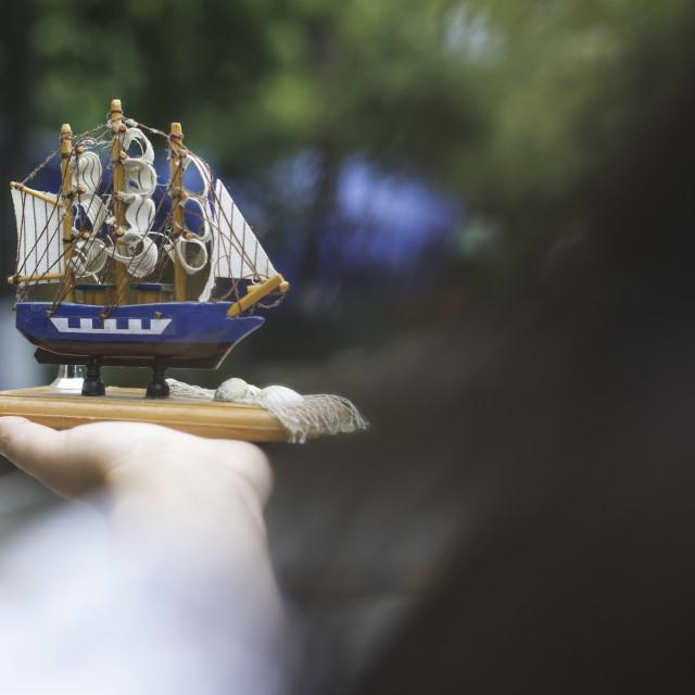 """Model of a sailing ship"" stock image"