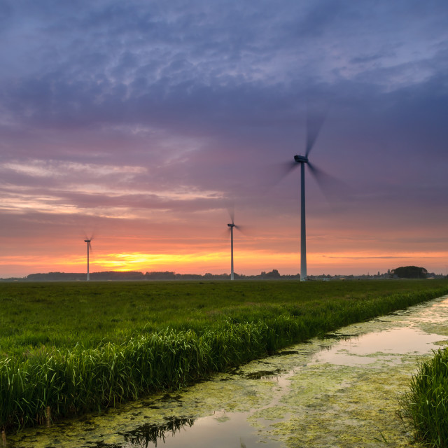 """""""Sunset at the windpark"""" stock image"""