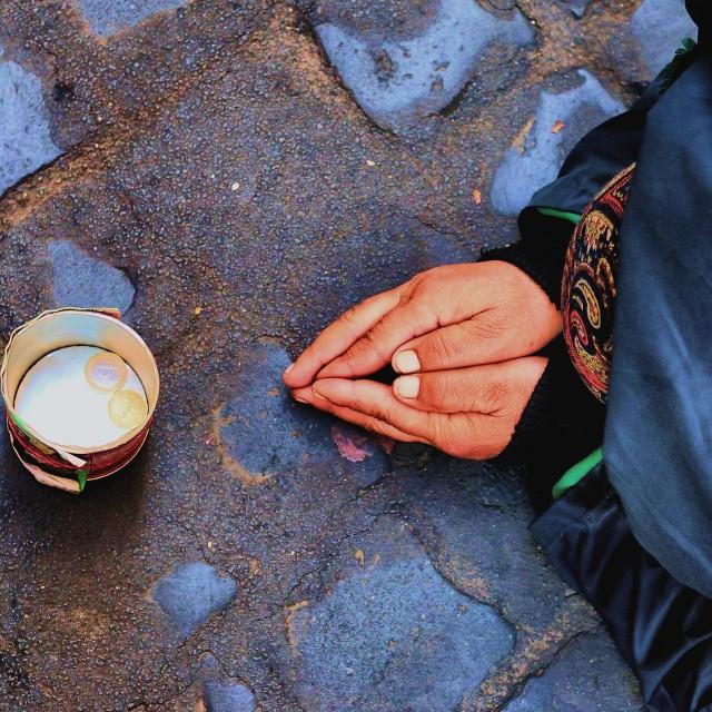 """Beggar in Rome"" stock image"