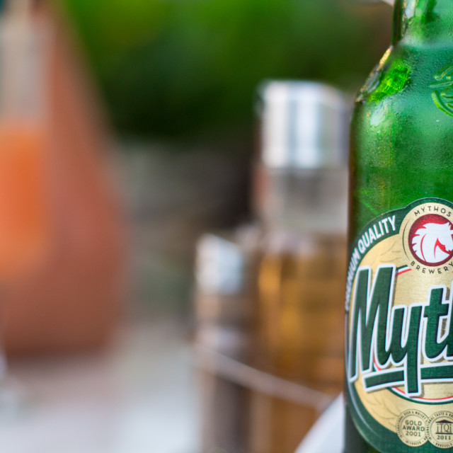 """Refreshing Mythos beer"" stock image"