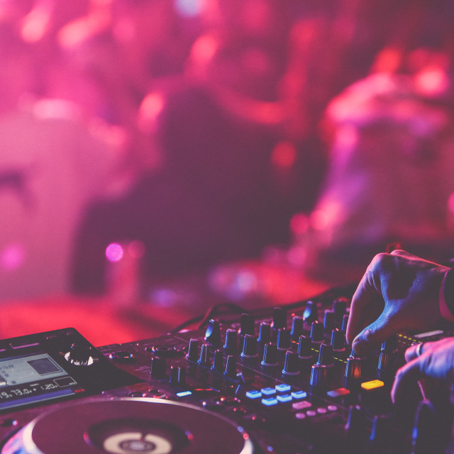 """""""DJ mixing for crowd"""" stock image"""