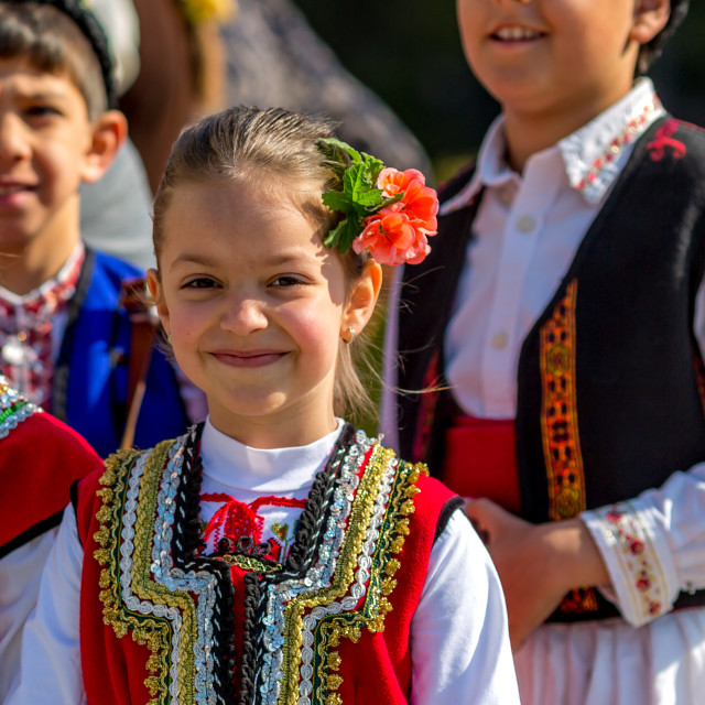 """Young Bulgarian folklore dancer"" stock image"