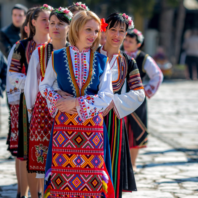 """""""Female Bulgarian folklore dancers in a line"""" stock image"""
