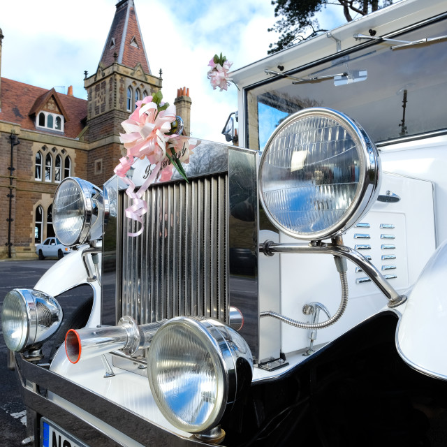 """Detail of wedding car at venue"" stock image"
