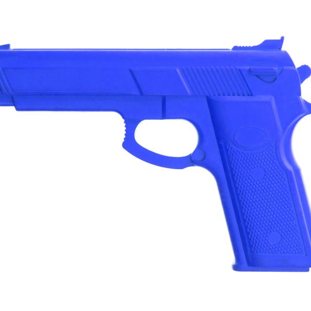 """Blue training gun isolated on white"" stock image"