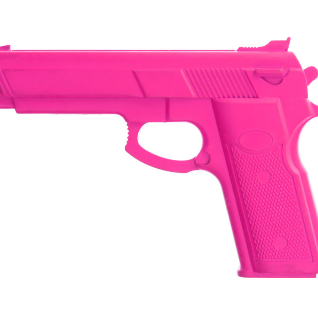 """Pink training gun isolated on white"" stock image"