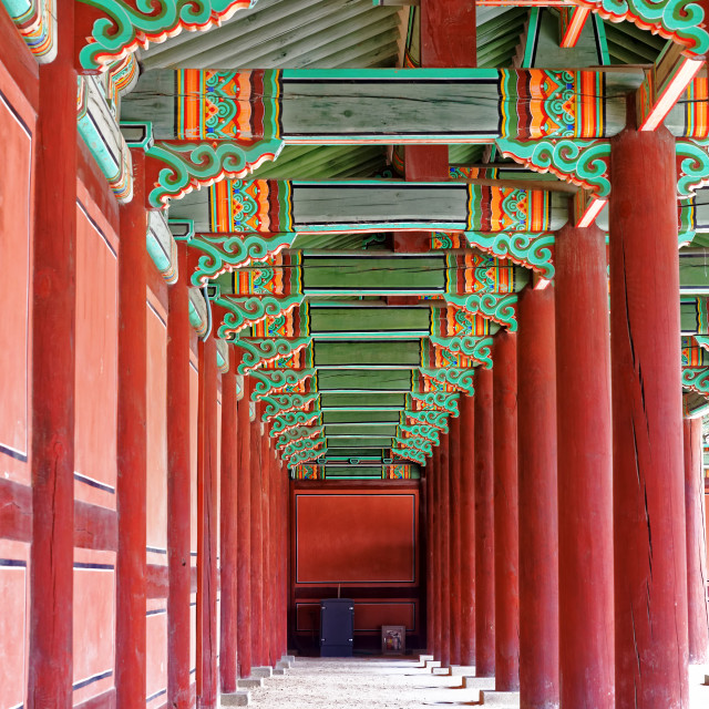 """hallway in the korean ancient palace"" stock image"