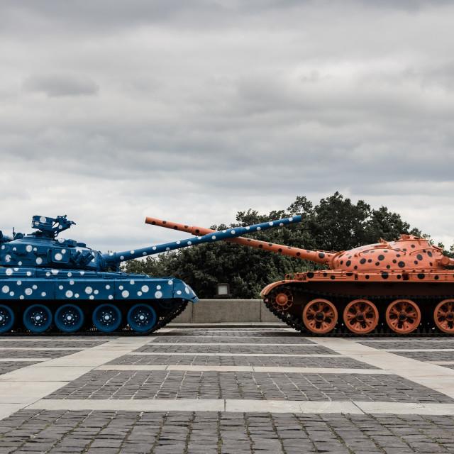 """Kiev War Memorial Tanks"" stock image"