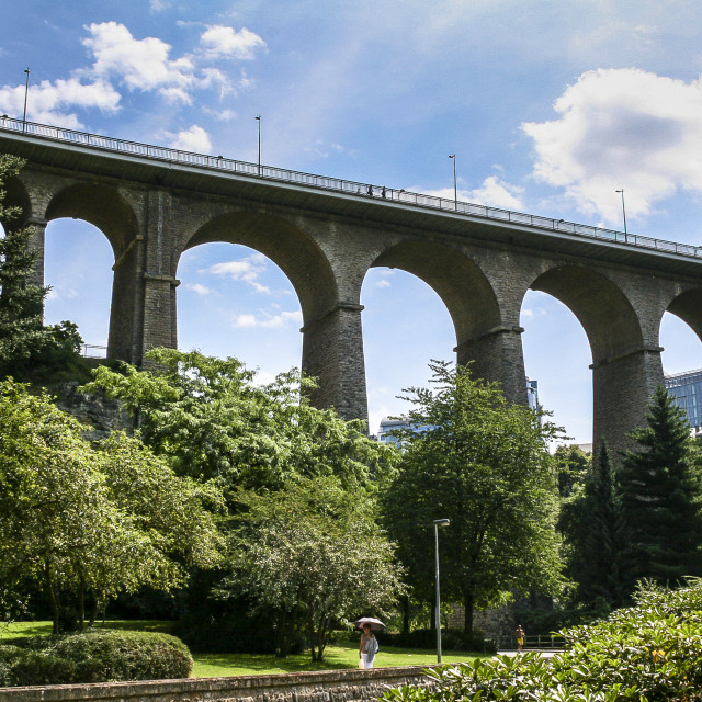 """""""Bridge over the Petrusse Valley"""" stock image"""