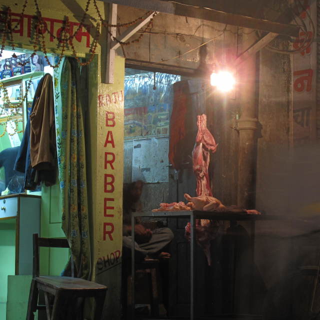 """Butcher, Barber, Kathmandu"" stock image"