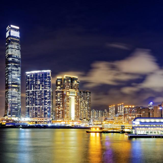 """""""hong kong office buildings at night"""" stock image"""