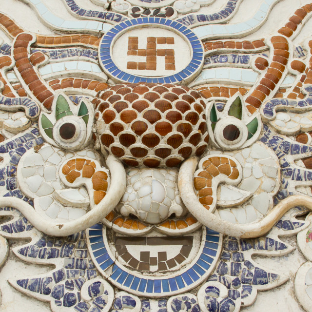 """""""Chinese dragon ornament on a rooftop"""" stock image"""