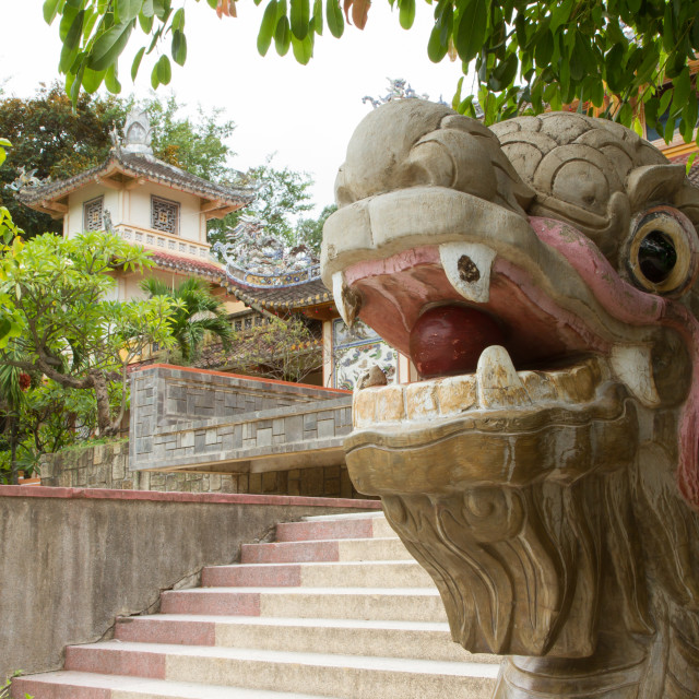 """""""Chinese dragon ornament on a stairs"""" stock image"""