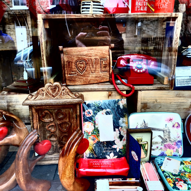 """Shop window with fancy goods (wide 2)"" stock image"