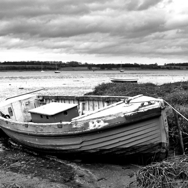 """Old Black and White Boat"" stock image"