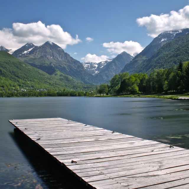 """""""Jetty on the Lake"""" stock image"""