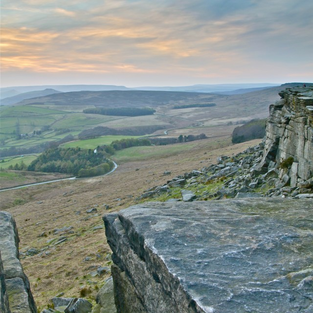 """Sunset of Stanage Edge in the Peak"" stock image"