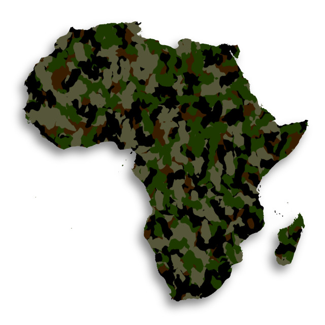 """Map of Africa filled with camouflage pattern"" stock image"