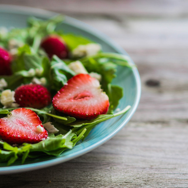 """""""Salad with arugula,strawberries and cheese"""" stock image"""