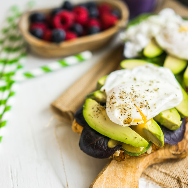 """""""Healthy sandwich with avocado and poached eggs"""" stock image"""