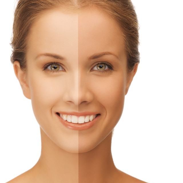 """""""beautiful woman with half face tanned"""" stock image"""
