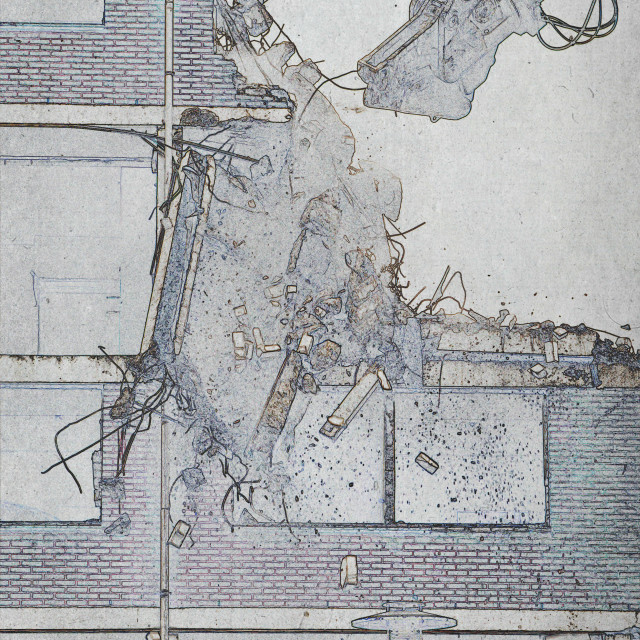 """""""Drawing of the destruction of a block of flats"""" stock image"""
