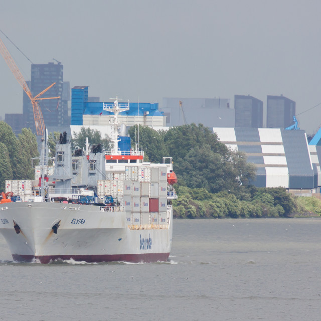 """""""Containership in the harbor of Rotterdam"""" stock image"""
