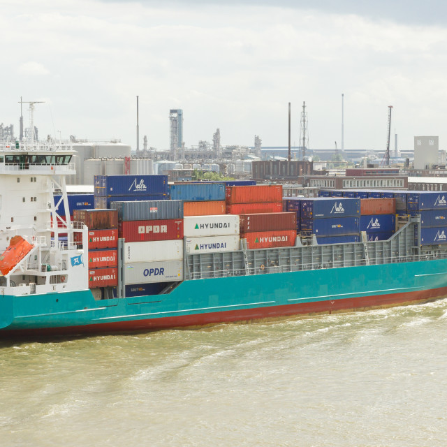 """""""Containers on a containership"""" stock image"""