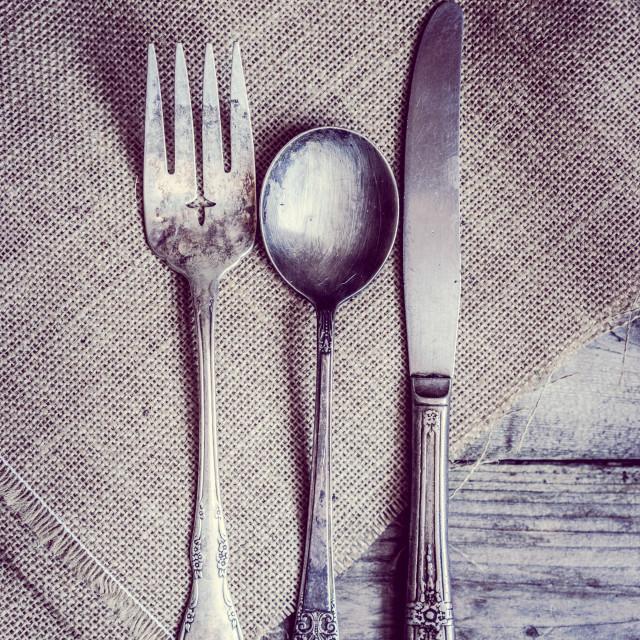"""""""Rustic silverware"""" stock image"""