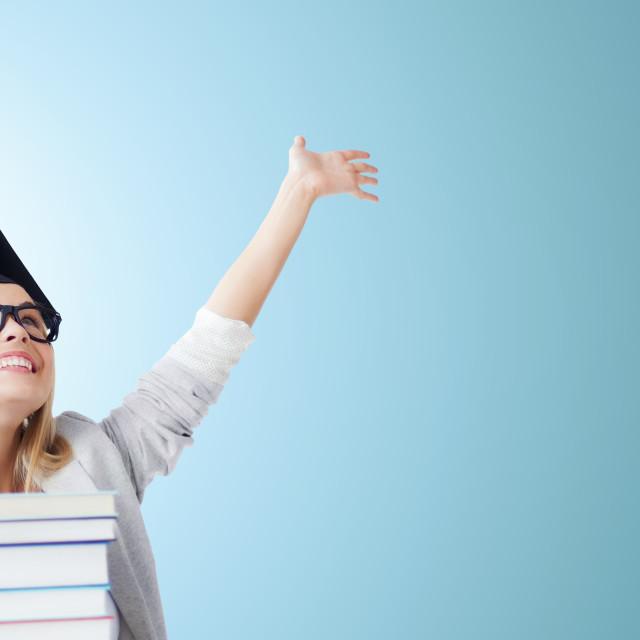 """happy student in graduation cap"" stock image"